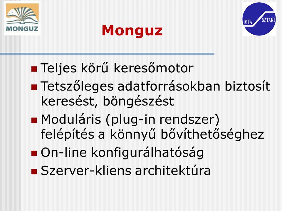 Monguz Teljes körű keresőmotor Tetszőleges adatforrásokban biztosít keresést, böngészést Moduláris (plug-in rendszer) felépítés a könnyű bővíthetőségh