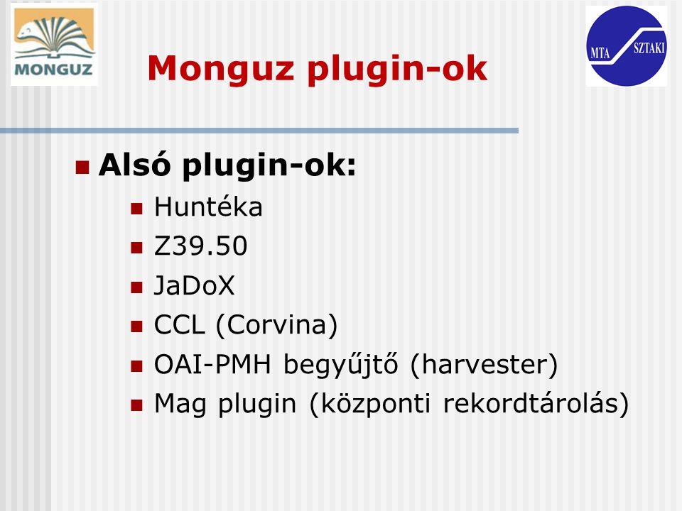 Alsó plugin-ok: Huntéka Z39.50 JaDoX CCL (Corvina) OAI-PMH begyűjtő (harvester) Mag plugin (központi rekordtárolás) Monguz plugin-ok