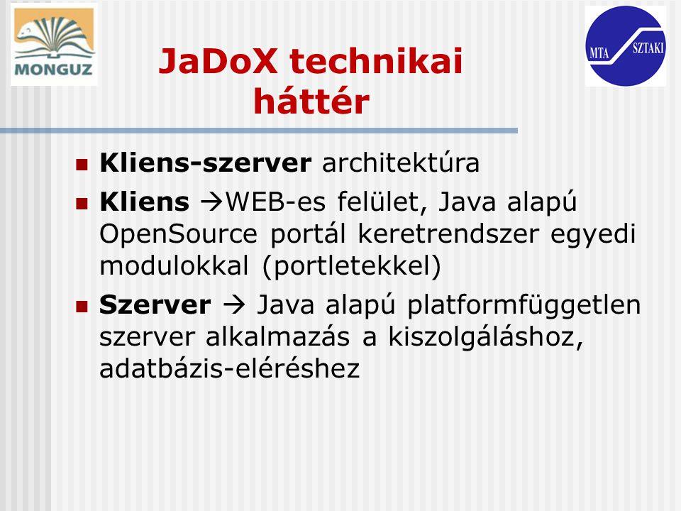 Kliens-szerver architektúra Kliens  WEB-es felület, Java alapú OpenSource portál keretrendszer egyedi modulokkal (portletekkel) Szerver  Java alapú