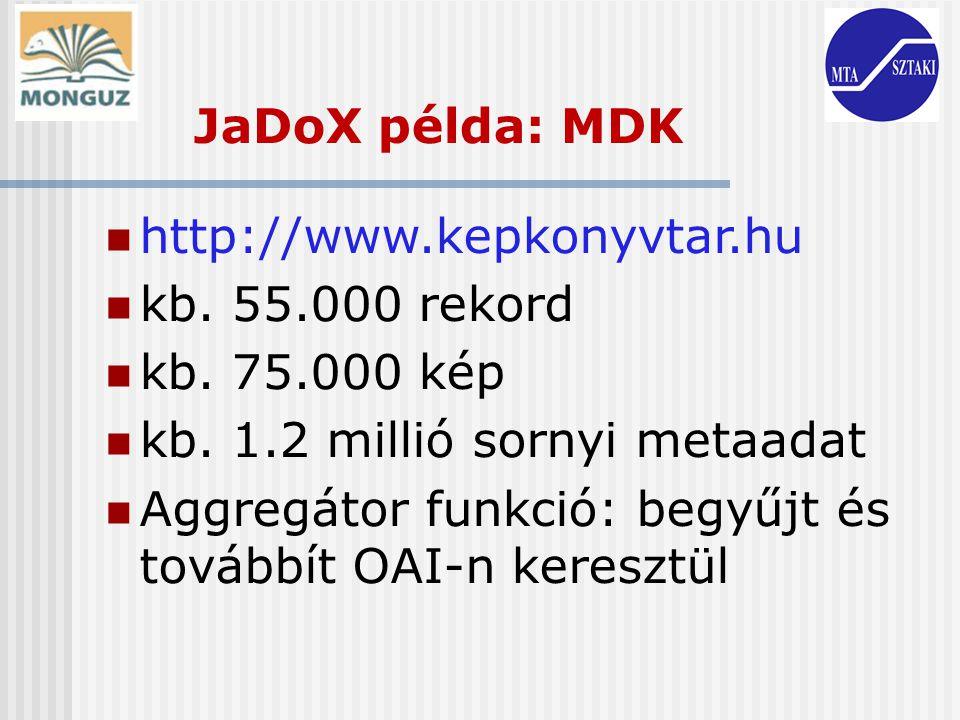http://www.kepkonyvtar.hu kb. 55.000 rekord kb. 75.000 kép kb. 1.2 millió sornyi metaadat Aggregátor funkció: begyűjt és továbbít OAI-n keresztül JaDo