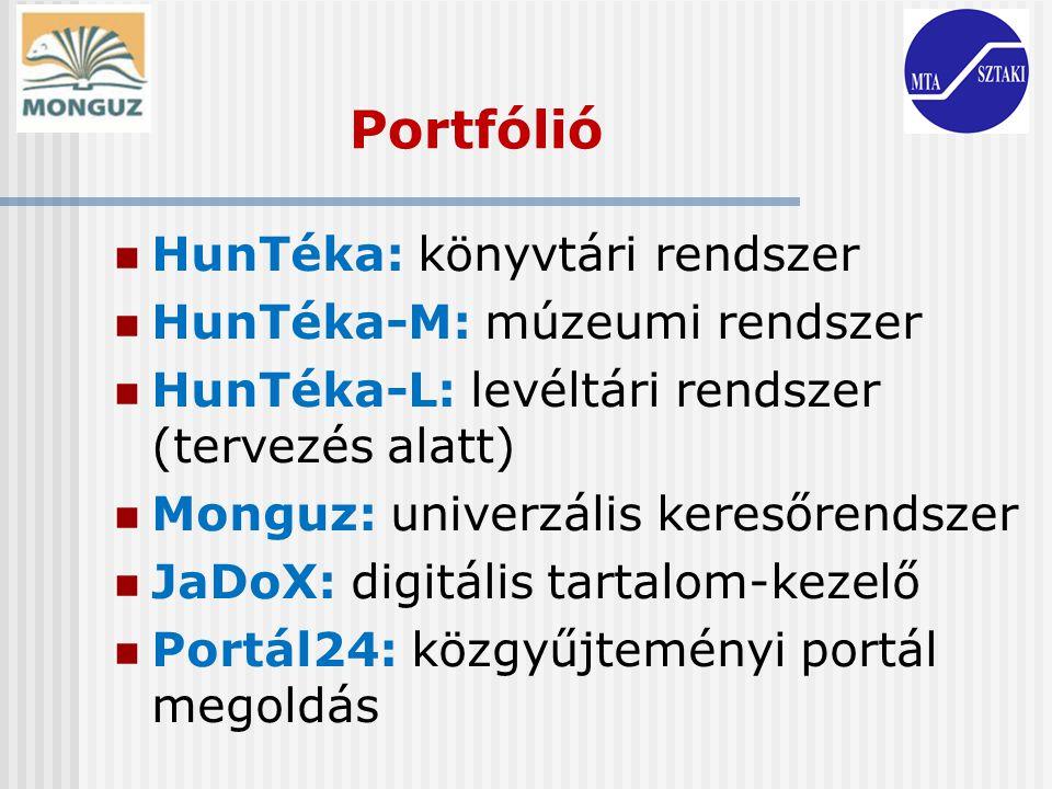 Portfólió HunTéka: könyvtári rendszer HunTéka-M: múzeumi rendszer HunTéka-L: levéltári rendszer (tervezés alatt) Monguz: univerzális keresőrendszer Ja