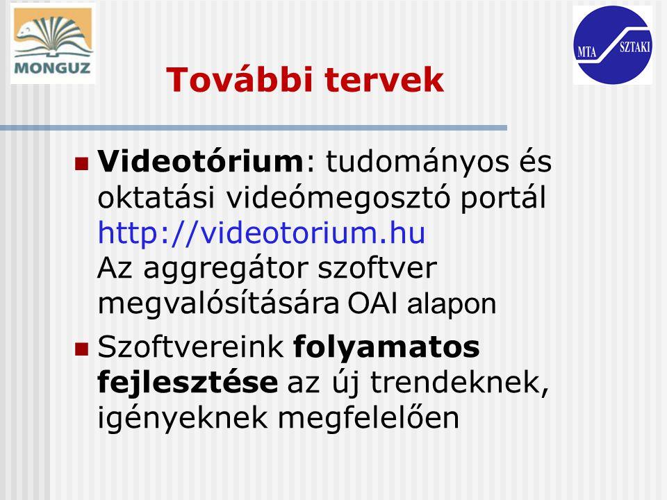Videotórium: tudományos és oktatási videómegosztó portál http://videotorium.hu A z aggregátor szoftver megvalósítására OAI alapon Szoftvereink folyama