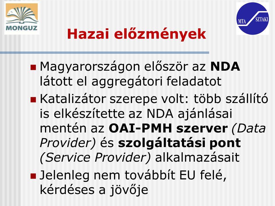 Hazai előzmények Magyarországon először az NDA látott el aggregátori feladatot Katalizátor szerepe volt: több szállító is elkészítette az NDA ajánlása