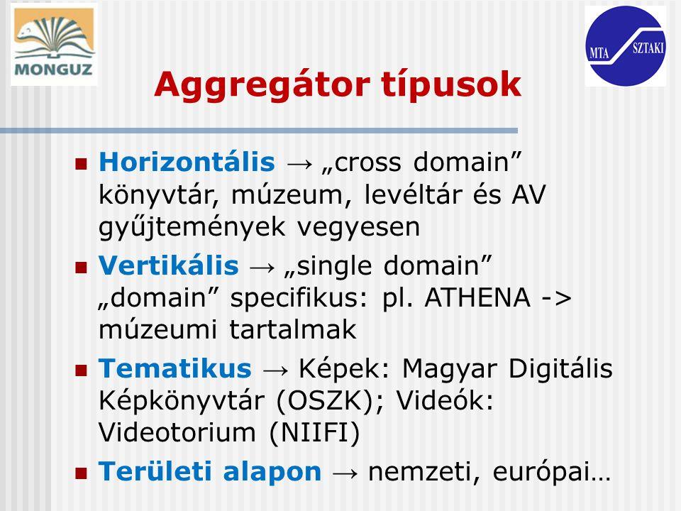 Aggregátor mátrix Domain / TerületiRegionálisNemzetiEuropaiGlobális Cross-domain (horizontális) Thuis in Brabant CulturaItalia EuropeanaLo cal Europeana Single- domain (vertikális) MovE (museums in East Flanders ) Direcção- Geral de Arquivos (Portuguese archives) Dismarc (zene) TEL (nemzeti könyvtárak) EFG (filmek) ATHENA (múzeumok) World Digital library WorldCat TematikusCross domain Videoportál (NIIF) JudaicaArXiv.org Single domain Múzeumi aggregáció (MNM) MDK Great War Archive