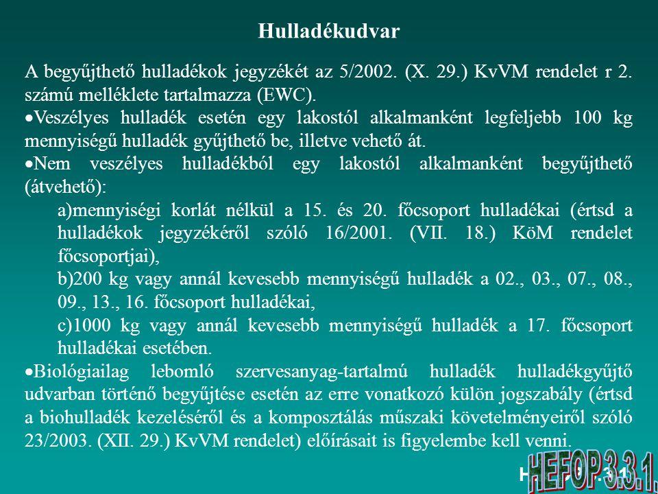 HEFOP 3.3.1. Hulladékudvar A begyűjthető hulladékok jegyzékét az 5/2002.
