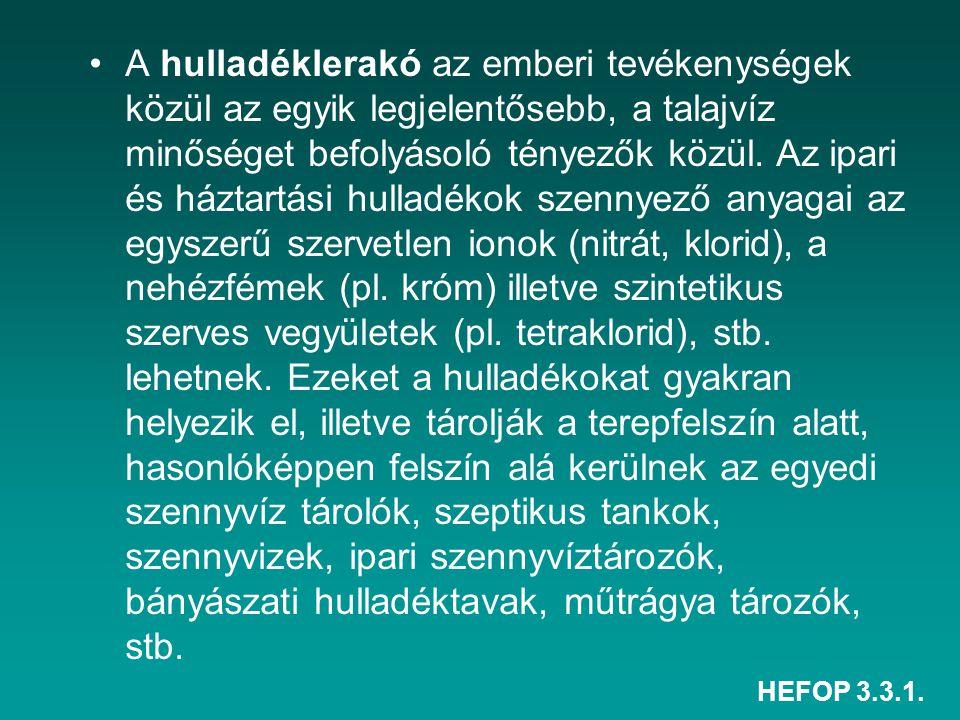 HEFOP 3.3.1. A hulladéklerakó az emberi tevékenységek közül az egyik legjelentősebb, a talajvíz minőséget befolyásoló tényezők közül. Az ipari és házt