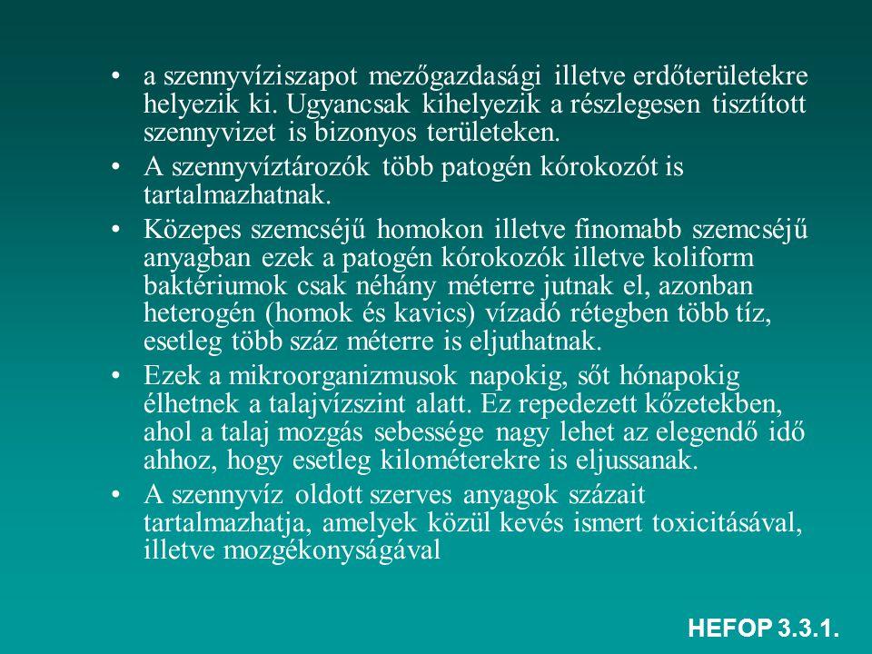 HEFOP 3.3.1. a szennyvíziszapot mezőgazdasági illetve erdőterületekre helyezik ki. Ugyancsak kihelyezik a részlegesen tisztított szennyvizet is bizony