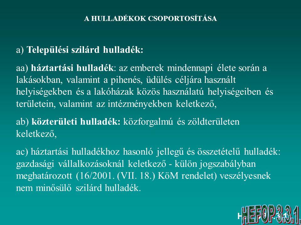 HEFOP 3.3.1.A HULLADÉKOK CSOPORTOSÍTÁSA B.
