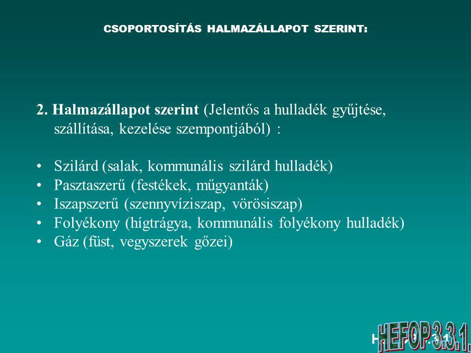 HEFOP 3.3.1.A HULLADÉKOK CSOPORTOSÍTÁSA A 98/2001.
