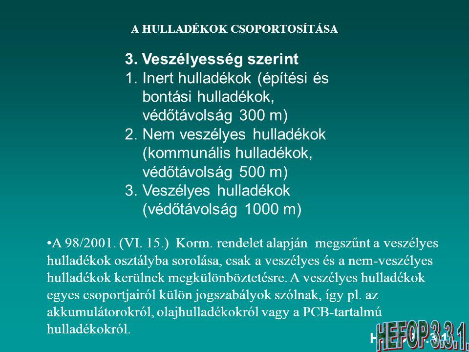 HEFOP 3.3.1. A HULLADÉKOK CSOPORTOSÍTÁSA A 98/2001. (VI. 15.) Korm. rendelet alapján megszűnt a veszélyes hulladékok osztályba sorolása, csak a veszél