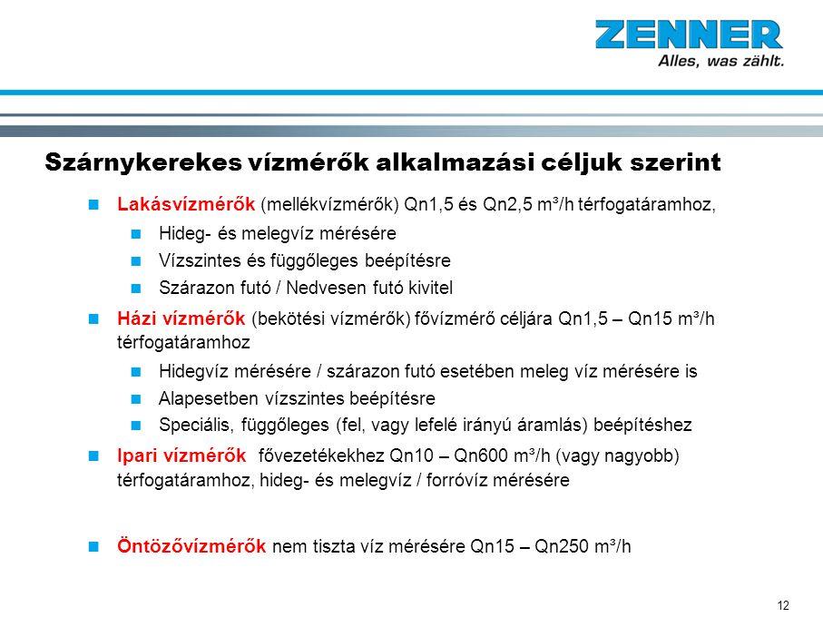 12 Szárnykerekes vízmérők alkalmazási céljuk szerint Lakásvízmérők (mellékvízmérők) Qn1,5 és Qn2,5 m³/h térfogatáramhoz, Hideg- és melegvíz mérésére V