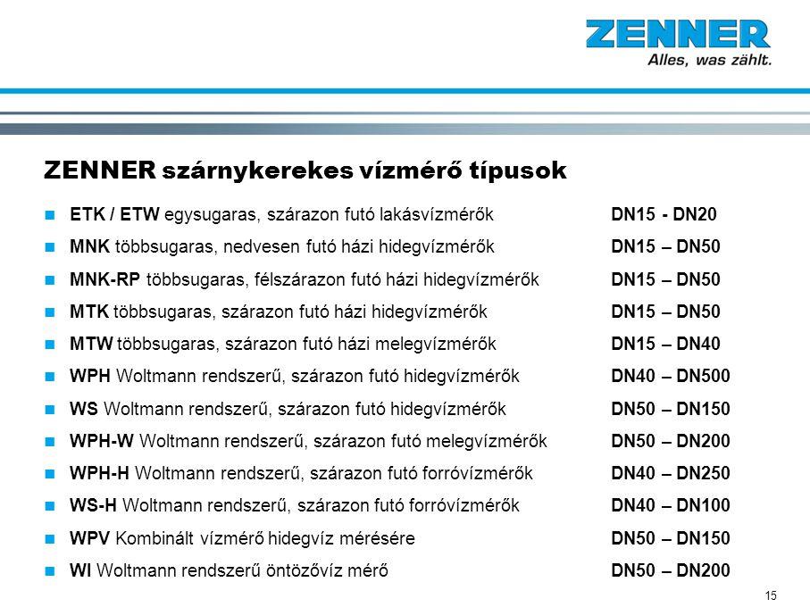 15 ZENNER szárnykerekes vízmérő típusok ETK / ETW egysugaras, szárazon futó lakásvízmérők DN15 - DN20 MNK többsugaras, nedvesen futó házi hidegvízmérő