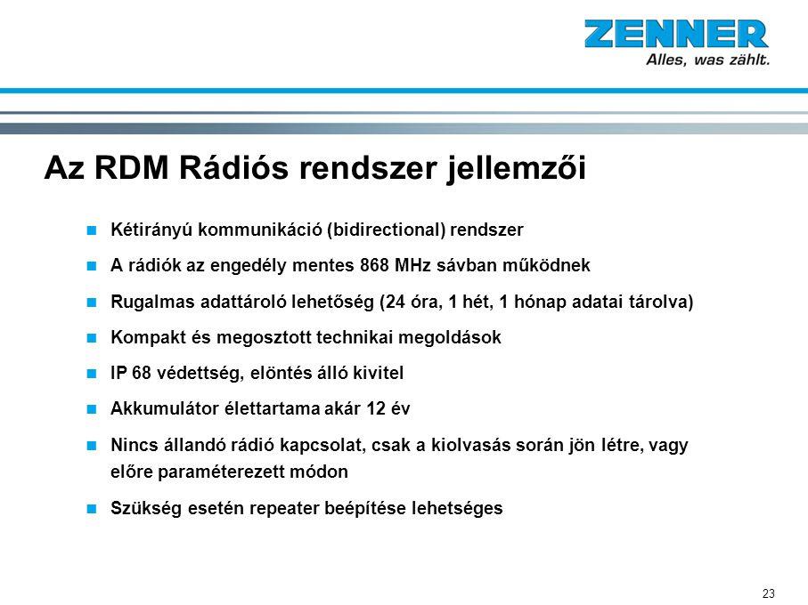 23 Az RDM Rádiós rendszer jellemzői Kétirányú kommunikáció (bidirectional) rendszer A rádiók az engedély mentes 868 MHz sávban működnek Rugalmas adatt