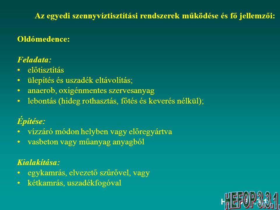 HEFOP 3.3.1. Oldómedence: Feladata: előtisztítás ülepítés és uszadék eltávolítás; anaerob, oxigénmentes szervesanyag lebontás (hideg rothasztás, főtés