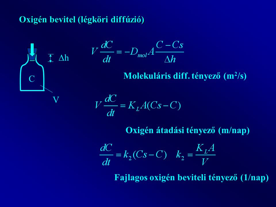 Oxigén bevitel (légköri diffúzió) C V hh Molekuláris diff.