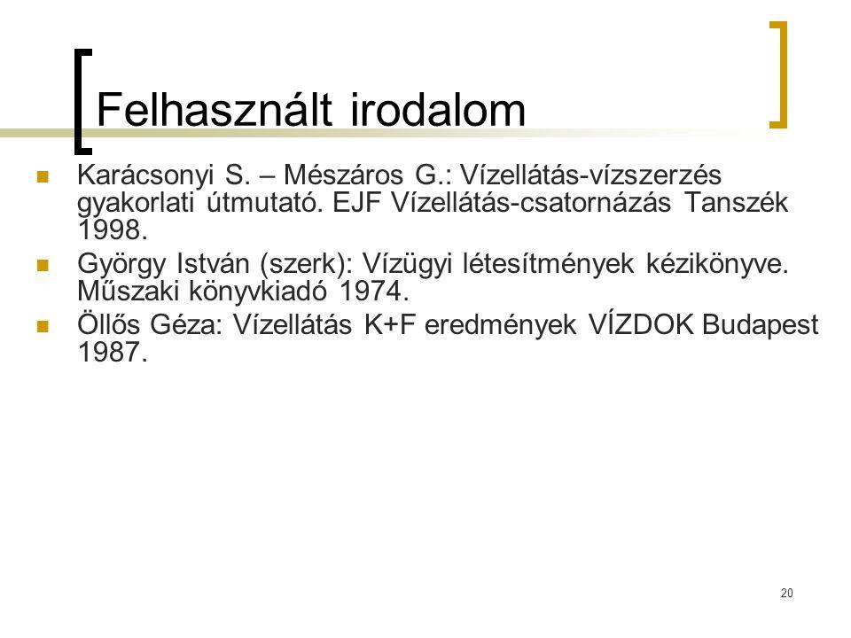 20 Felhasznált irodalom Karácsonyi S. – Mészáros G.: Vízellátás-vízszerzés gyakorlati útmutató. EJF Vízellátás-csatornázás Tanszék 1998. György István