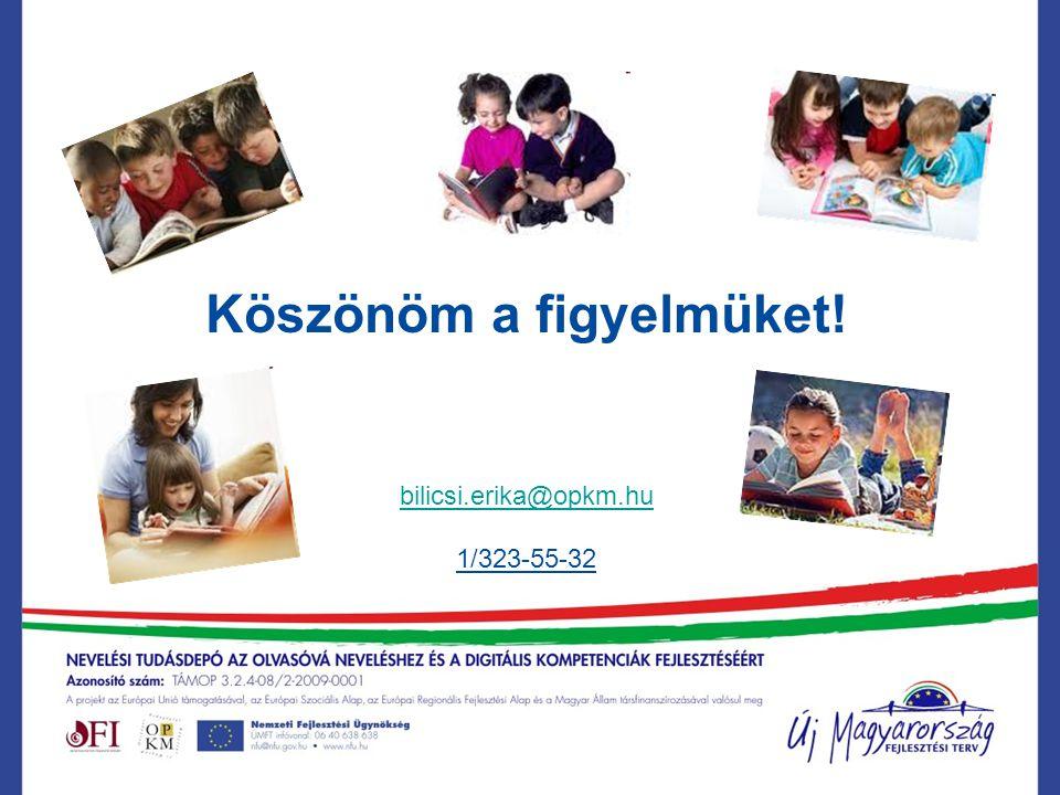 Köszönöm a figyelmüket! bilicsi.erika@opkm.hu 1/323-55-32