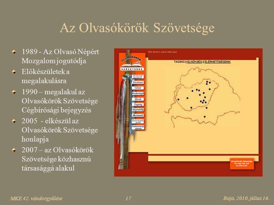 MKE 42. vándorgyűlése Baja, 2010. július 16. 17 Az Olvasókörök Szövetsége 1989 - Az Olvasó Népért Mozgalom jogutódja Előkészületek a megalakulásra 199
