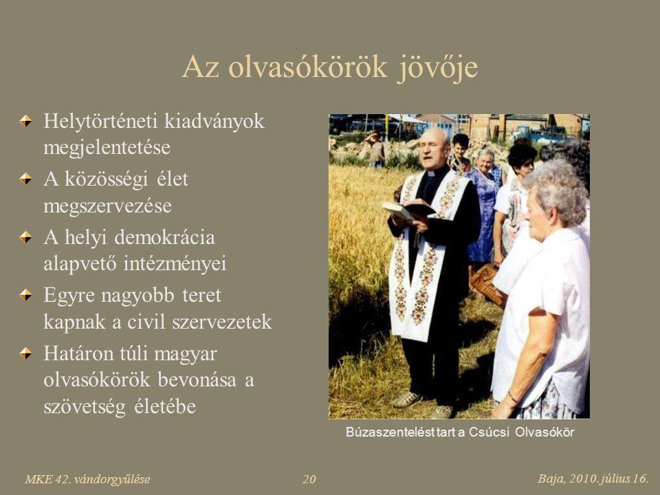 MKE 42. vándorgyűlése Baja, 2010. július 16. 20 Az olvasókörök jövője Helytörténeti kiadványok megjelentetése A közösségi élet megszervezése A helyi d