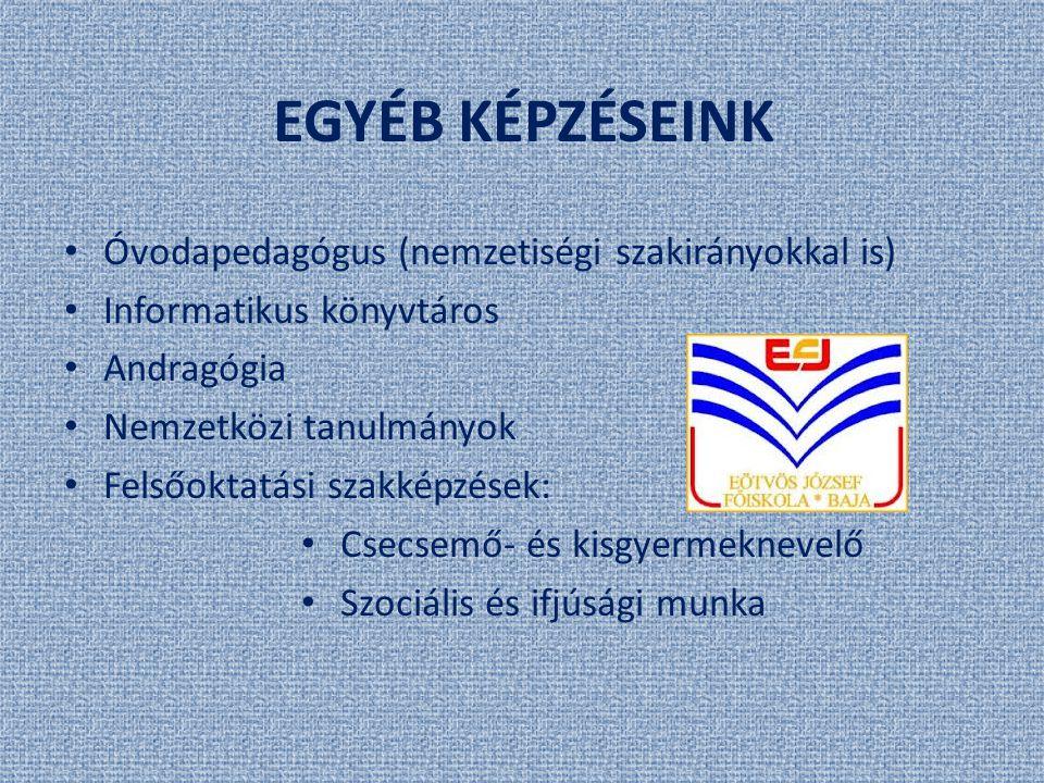 EGYÉB KÉPZÉSEINK Óvodapedagógus (nemzetiségi szakirányokkal is) Informatikus könyvtáros Andragógia Nemzetközi tanulmányok Felsőoktatási szakképzések:
