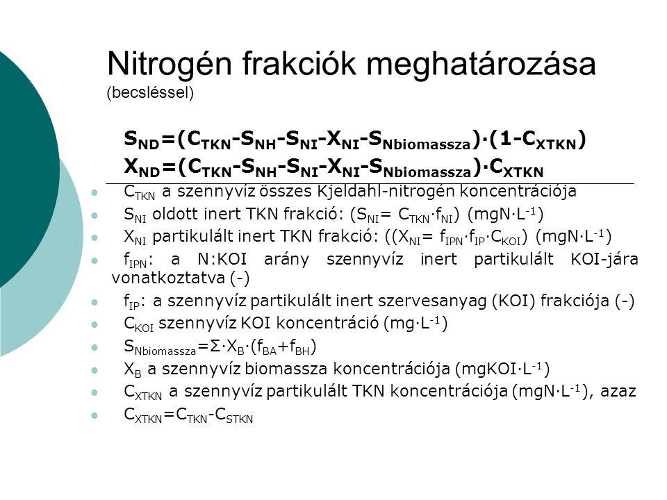 Nitrogén frakciók meghatározása (becsléssel) S ND =(C TKN -S NH -S NI -X NI -S Nbiomassza )·(1-C XTKN ) X ND =(C TKN -S NH -S NI -X NI -S Nbiomassza )