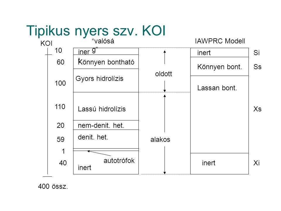 """Tipikus nyers szv. KOI nem-denit. het. iner t """"valósá g"""" IAWPRC Modell oldott alakos KOI Könnyen bontható Gyors hidrolízis Lassú hidrolízis denit. het"""