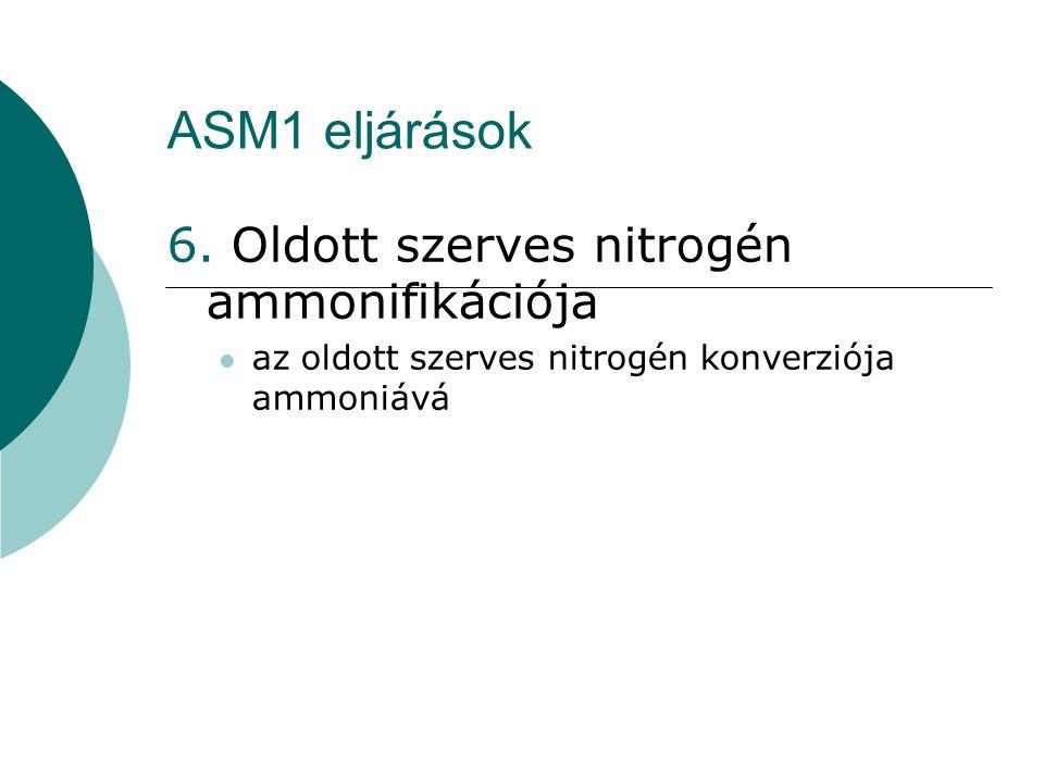 ASM1 eljárások 6. Oldott szerves nitrogén ammonifikációja az oldott szerves nitrogén konverziója ammoniává