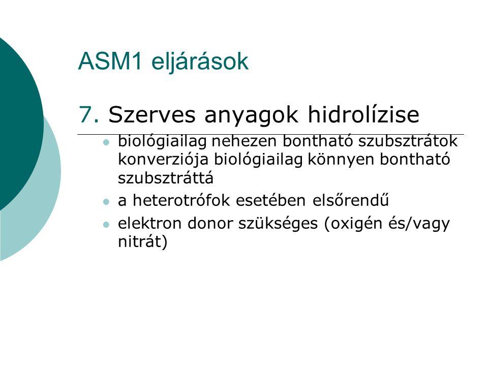 ASM1 eljárások 7. Szerves anyagok hidrolízise biológiailag nehezen bontható szubsztrátok konverziója biológiailag könnyen bontható szubsztráttá a hete