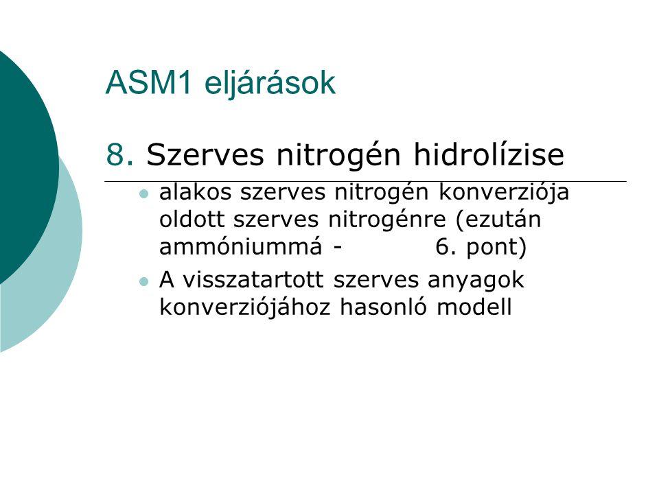 ASM1 eljárások 8. Szerves nitrogén hidrolízise alakos szerves nitrogén konverziója oldott szerves nitrogénre (ezután ammóniummá - 6. pont) A visszatar