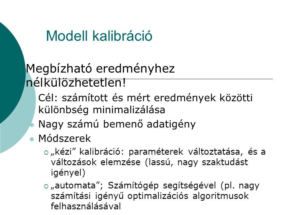 Modell kalibráció  Megbízható eredményhez nélkülözhetetlen! Cél: számított és mért eredmények közötti különbség minimalizálása Nagy számú bemenő adat