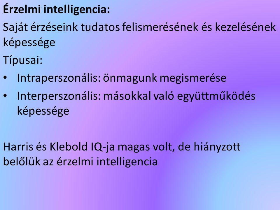 Érzelmi intelligencia: Saját érzéseink tudatos felismerésének és kezelésének képessége Típusai: Intraperszonális: önmagunk megismerése Interperszonáli