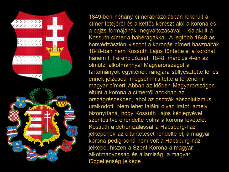 """Az 1848-ban vert egy krajcáros pénzérme fémbe ütve őrzi a modern magyar nemzet születésnapjára kialakult magyar államcímert. """"Hegyes talpú, hasított p"""