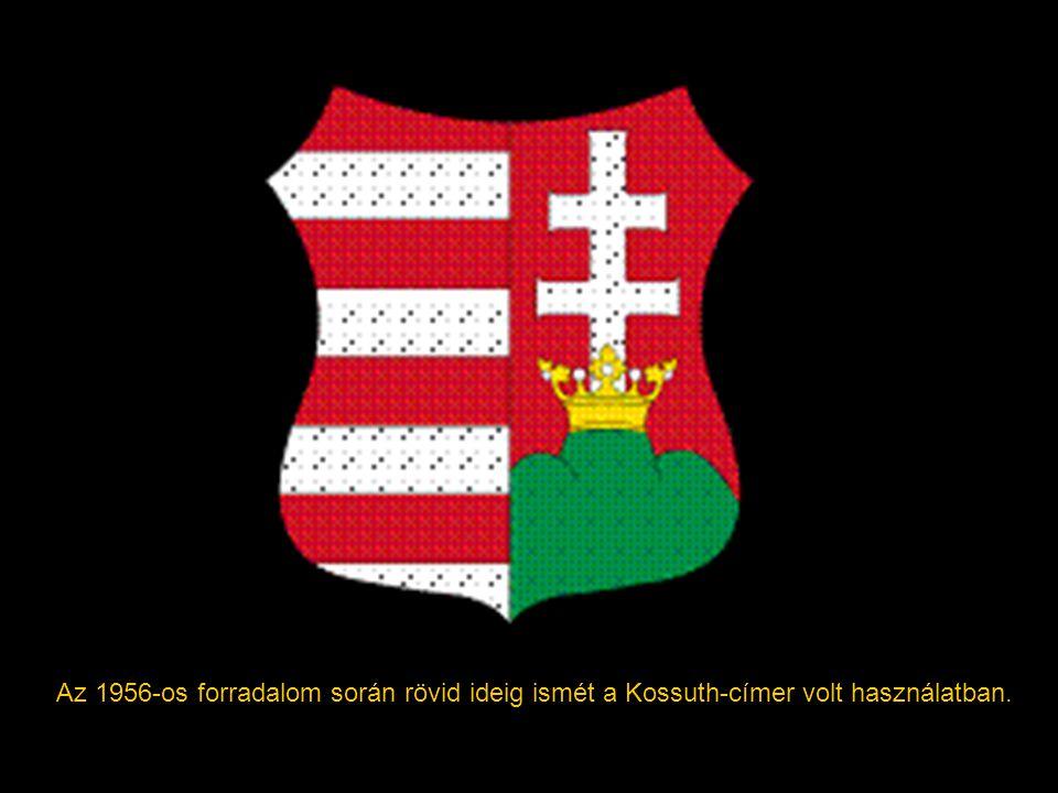 """1949-től a Rákosi-korszakban szovjet mintára új címert (Köznevén """"Rákosi-címer"""") vezettek be. Ezen búzakoszorú által közrefogott kék mezőben lévő búza"""