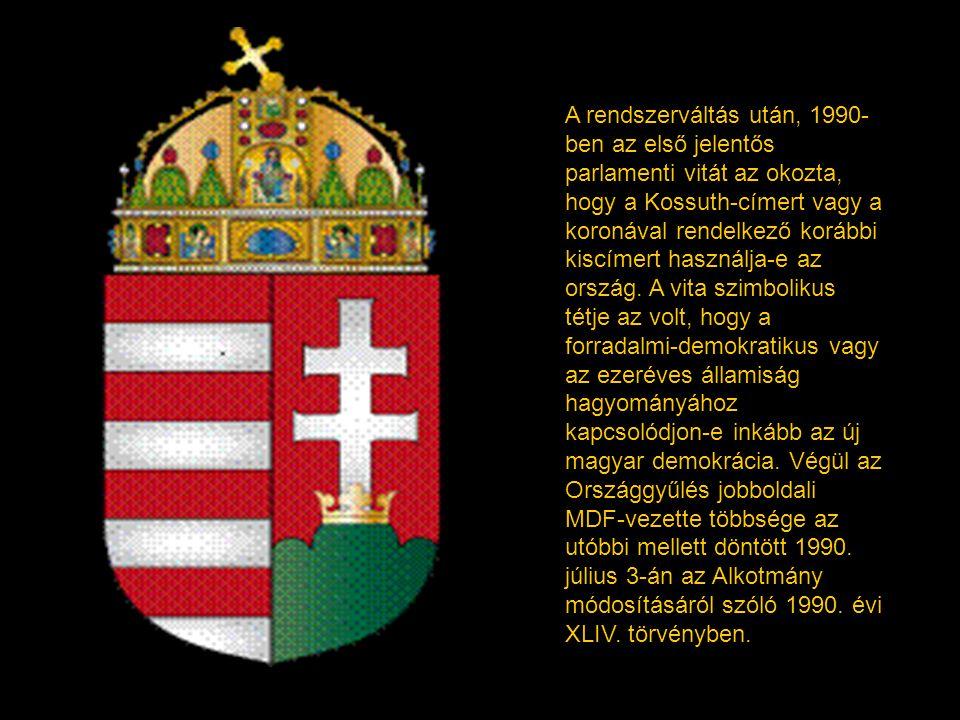 1957-ben ismét új címert vezettek be (Kádár-címer). Ez abban tért el a Rákosi- korszak címerétől, hogy a kék mező elé egy nemzeti színű, hajlított old