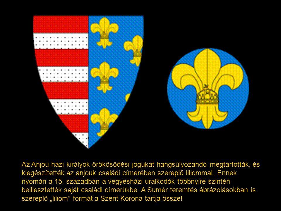 I. Imre címere kilenc oroszlánnal az 1202-es Aranybulláról. Ugyancsak ez szerepel II. András 1222-es Aranybullájának pecsétjén