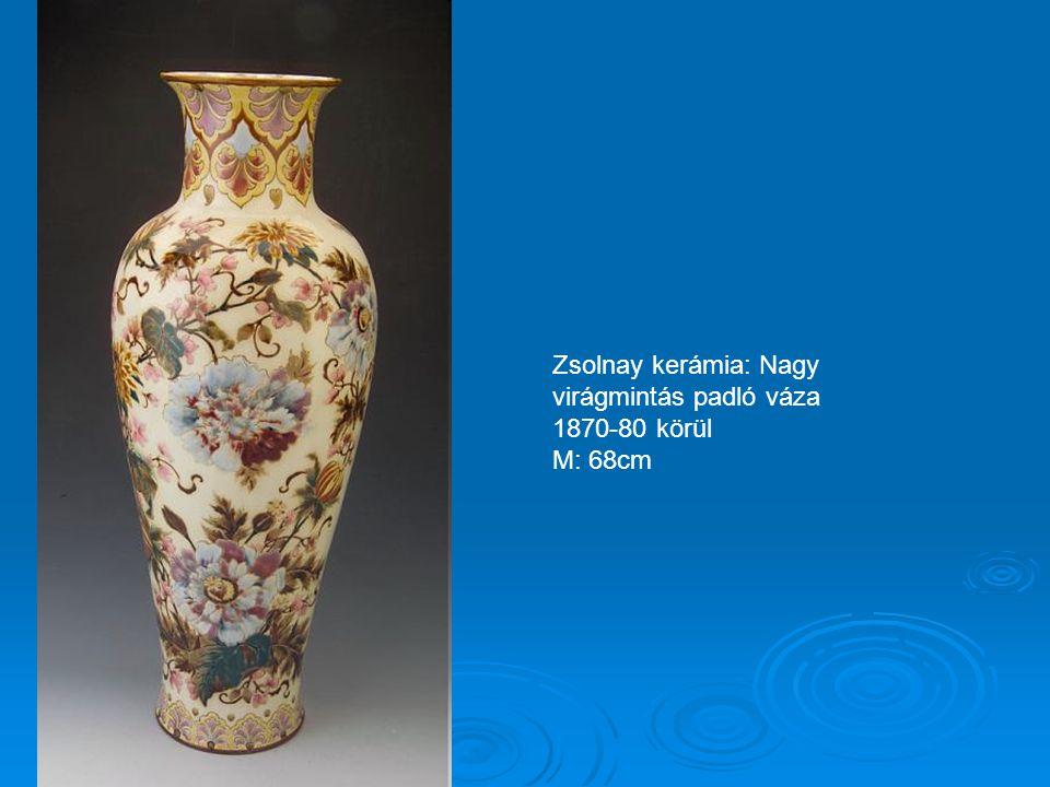 Zsolnay kerámia: Fácános fali tál 1870-80 körül M: 48cm