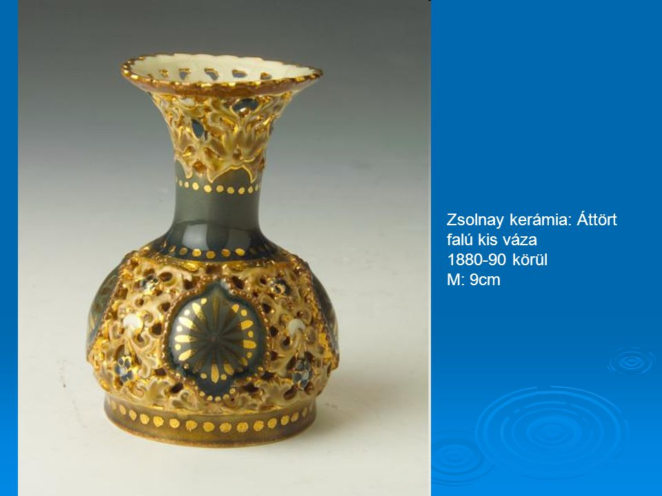 Zsolnay kerámia: Nagy virágmintás padló váza 1870-80 körül M: 68cm