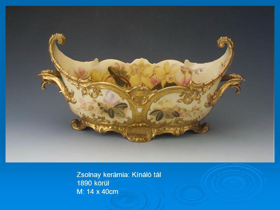 Zsolnay kerámia: Kancsó sárkányos füllel 1880 körül M: 16cm