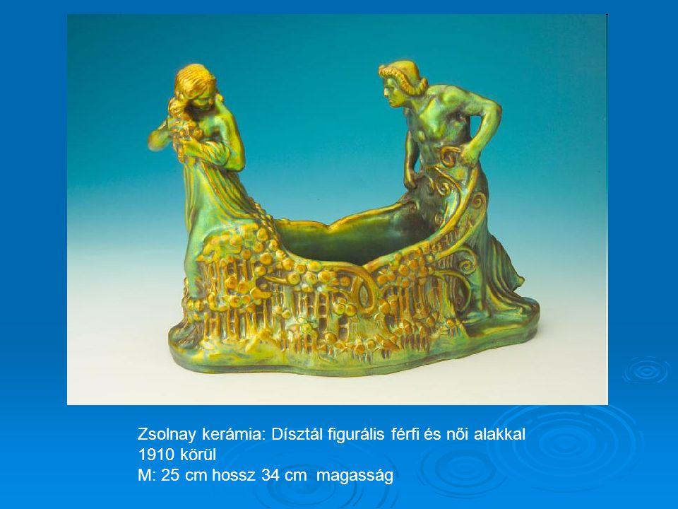 Zsolnay kerámia: Névjegytartó tál 1925-30 körül M: 18,5 x 42 cm