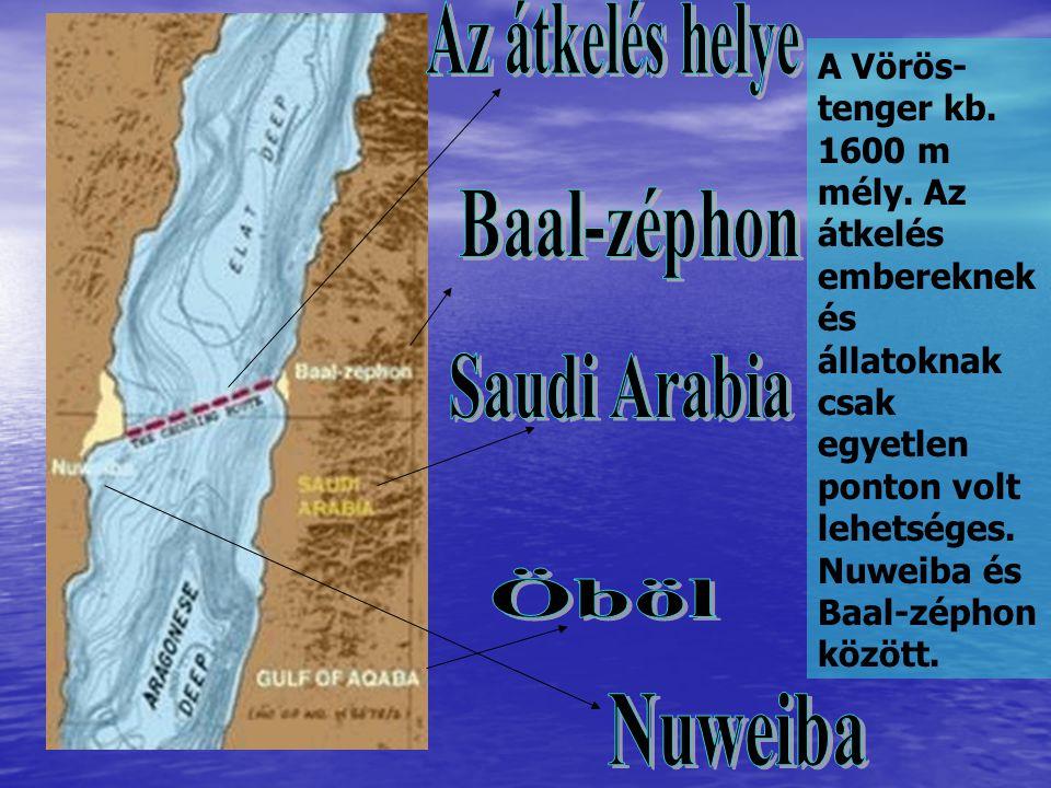 A Vörös- tenger kb. 1600 m mély. Az átkelés embereknek és állatoknak csak egyetlen ponton volt lehetséges. Nuweiba és Baal-zéphon között.