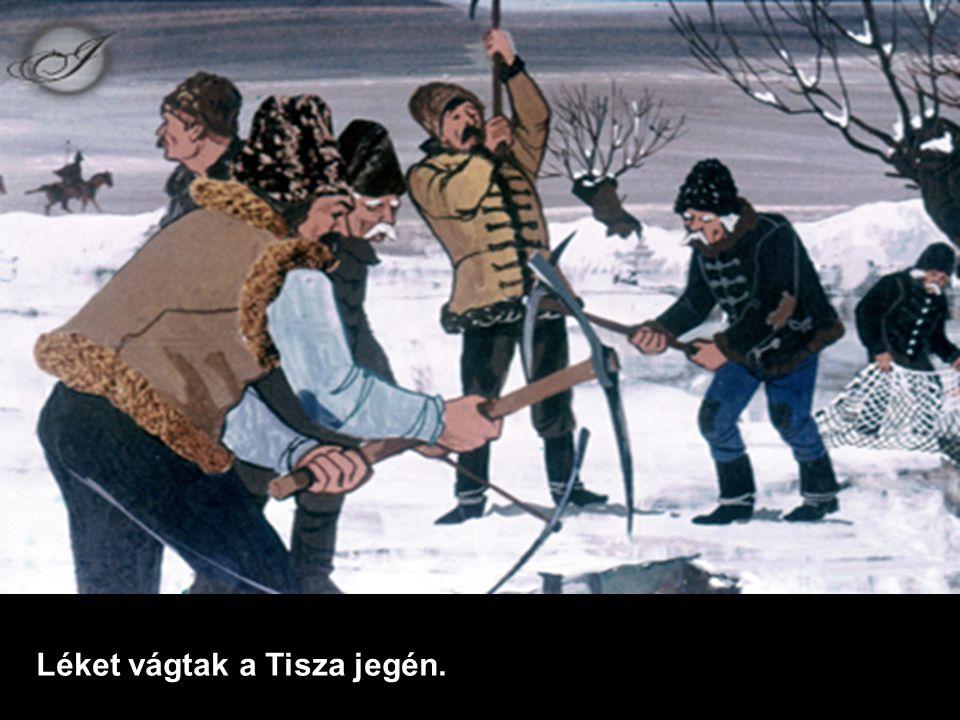 Léket vágtak a Tisza jegén.