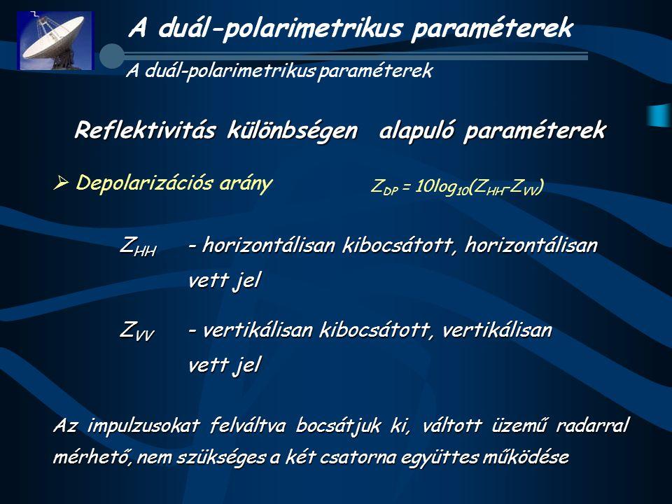 Reflektivitás különbségen alapuló paraméterek  Depolarizációs arány Z HH - horizontálisan kibocsátott, horizontálisan vett jel Z VV - vertikálisan ki