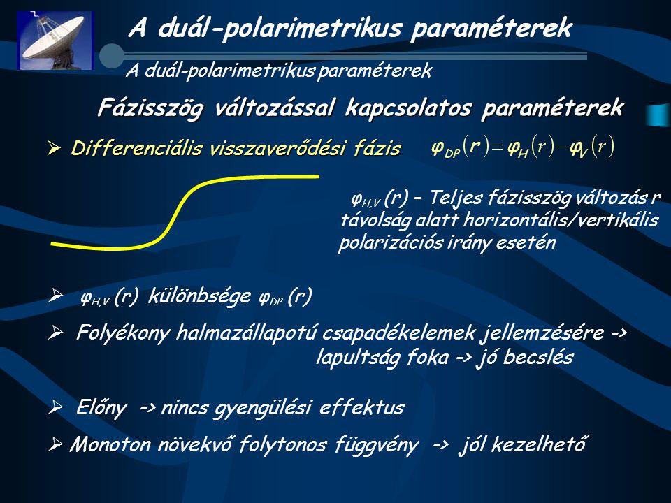  Differenciális visszaverődési fázis  φ H,V (r) különbsége φ DP (r)  Folyékony halmazállapotú csapadékelemek jellemzésére -> lapultság foka -> jó becslés  Előny -> nincs gyengülési effektus  Monoton növekvő folytonos függvény -> jól kezelhető A duál-polarimetrikus paraméterek Fázisszög változással kapcsolatos paraméterek φ H,V (r) – Teljes fázisszög változás r távolság alatt horizontális/vertikális polarizációs irány esetén