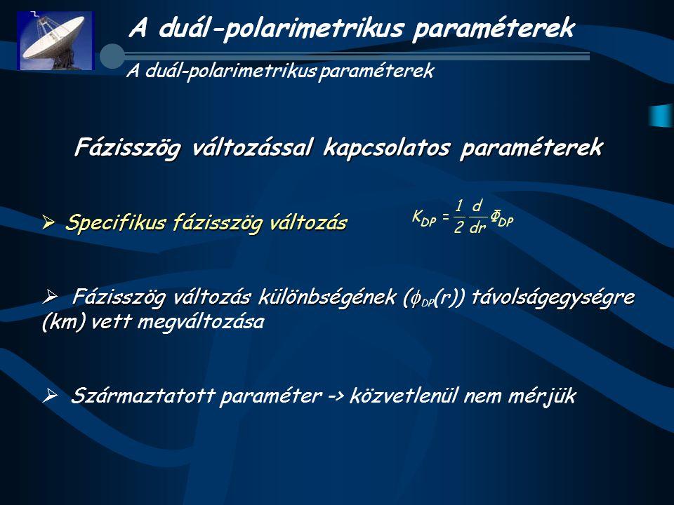 Fázisszög változással kapcsolatos paraméterek  Specifikus fázisszög változás  Fázisszög változás különbségének (  távolságegységre (km) vett  Fázisszög változás különbségének (  DP (r)) távolságegységre (km) vett megváltozása  Származtatott paraméter -> közvetlenül nem mérjük A duál-polarimetrikus paraméterek