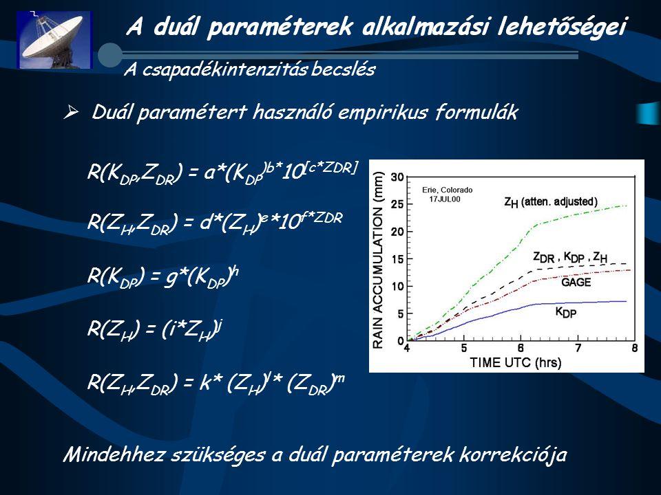  Duál paramétert használó empirikus formulák R(K DP,Z DR ) = a*(K DP )b* 10 [c*Z DR ] R(Z H,Z DR ) = d*(Z H ) e *10 f*Z DR R(K DP ) = g*(K DP ) h R(Z H ) = (i*Z H ) j R(Z H,Z DR ) = k* (Z H ) l * (Z DR ) m Mindehhez szükséges a duál paraméterek korrekciója