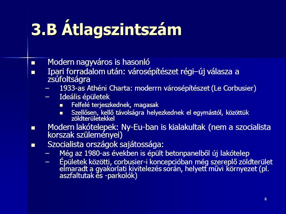 8 3.B Átlagszintszám Modern nagyváros is hasonló Ipari forradalom után: városépítészet régi–új válasza a zsúfoltságra – –1933-as Athéni Charta: moderr
