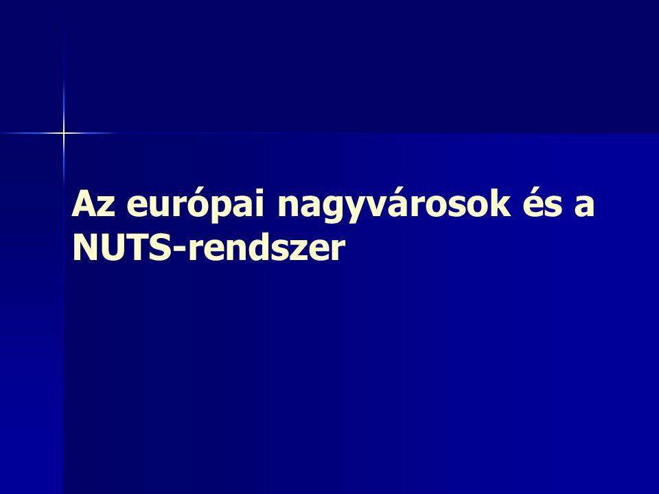 Európai nagyvárosok és a NUTS- régiók A városi terek, mint önálló egységek a NUTS- rendszer egyes szintjein – –NUTS0: (27 db) országos szint – –NUTS1: (89 db) London, Hamburg, Berlin, Brüsszel – –NUTS2: (254 db) pl, Prága – –NUTS3: (1215 db) legtöbb félmilliós nagyváros (Budapest) – –LAU1: kistérségi, járási szint (Budapest, Debrecen) - hiányos – –LAU2: települési szint A NUTS3-as szint a legalkalmasabb a nagyvárosok összehasonlítására