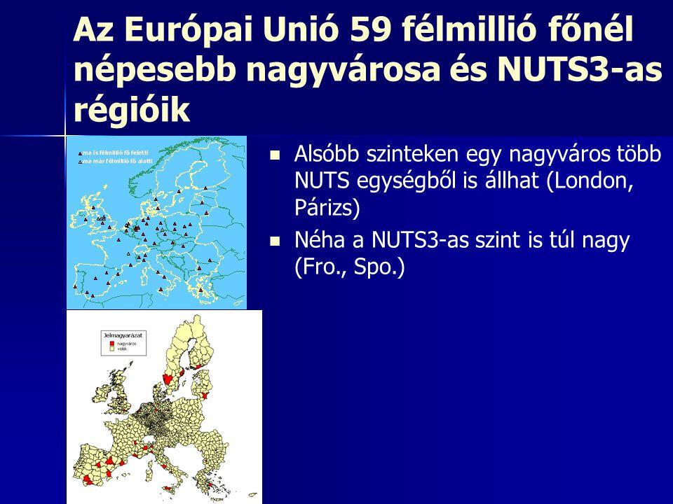 Nagyvárosok és a NUTS3-szint Budapest-típusRóma-típusLondon-típus Nagyváros = NUTS3Nagyváros < NUTS3Nagyváros > NUTS3 NUTS3: legtöbb nagyváros NUTS2: Bécs, Prága NUTS1: Berlin, Brüsszel, Hamburg Pl.
