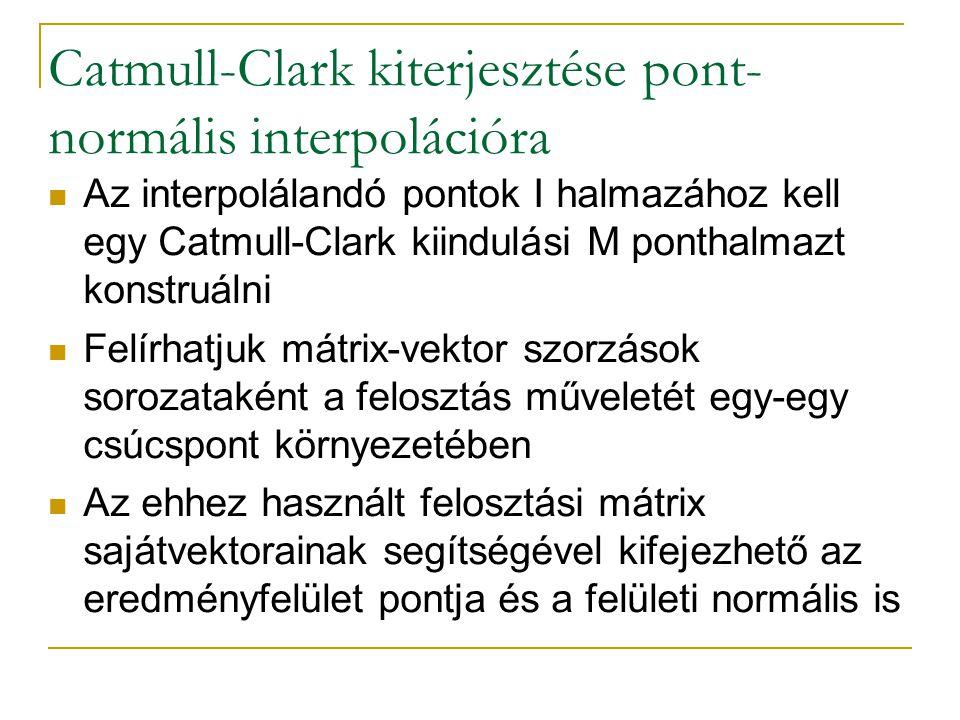 Catmull-Clark kiterjesztése pont- normális interpolációra Az interpolálandó pontok I halmazához kell egy Catmull-Clark kiindulási M ponthalmazt konstruálni Felírhatjuk mátrix-vektor szorzások sorozataként a felosztás műveletét egy-egy csúcspont környezetében Az ehhez használt felosztási mátrix sajátvektorainak segítségével kifejezhető az eredményfelület pontja és a felületi normális is
