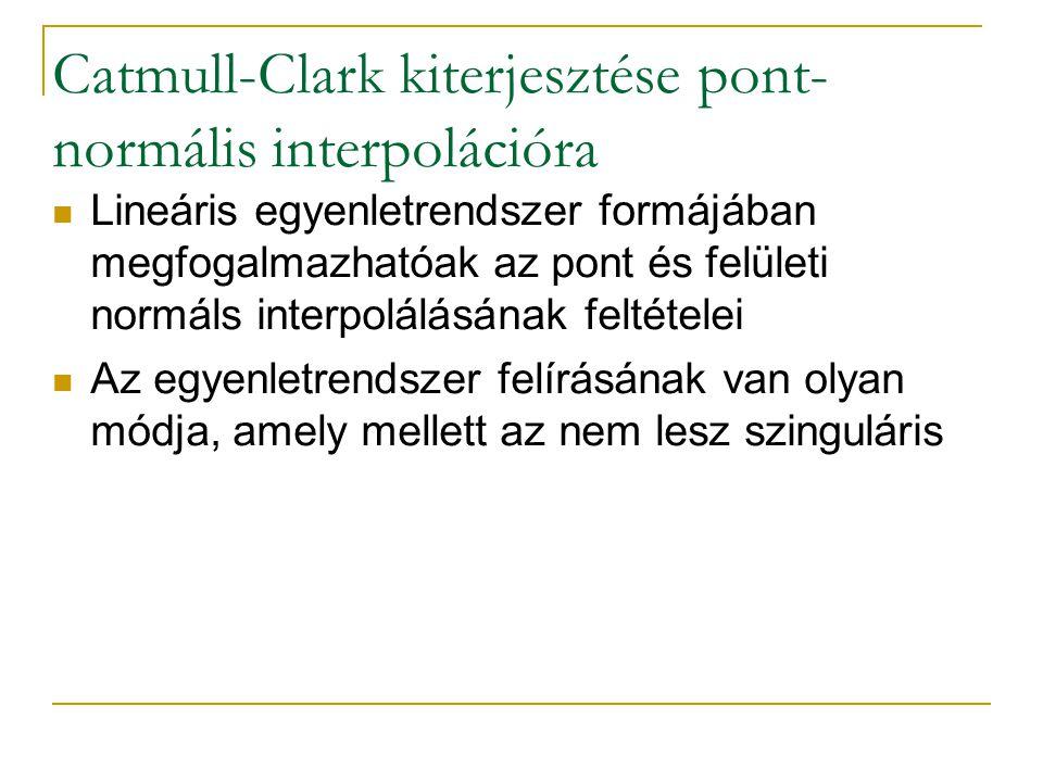 Catmull-Clark kiterjesztése pont- normális interpolációra Lineáris egyenletrendszer formájában megfogalmazhatóak az pont és felületi normáls interpolálásának feltételei Az egyenletrendszer felírásának van olyan módja, amely mellett az nem lesz szinguláris